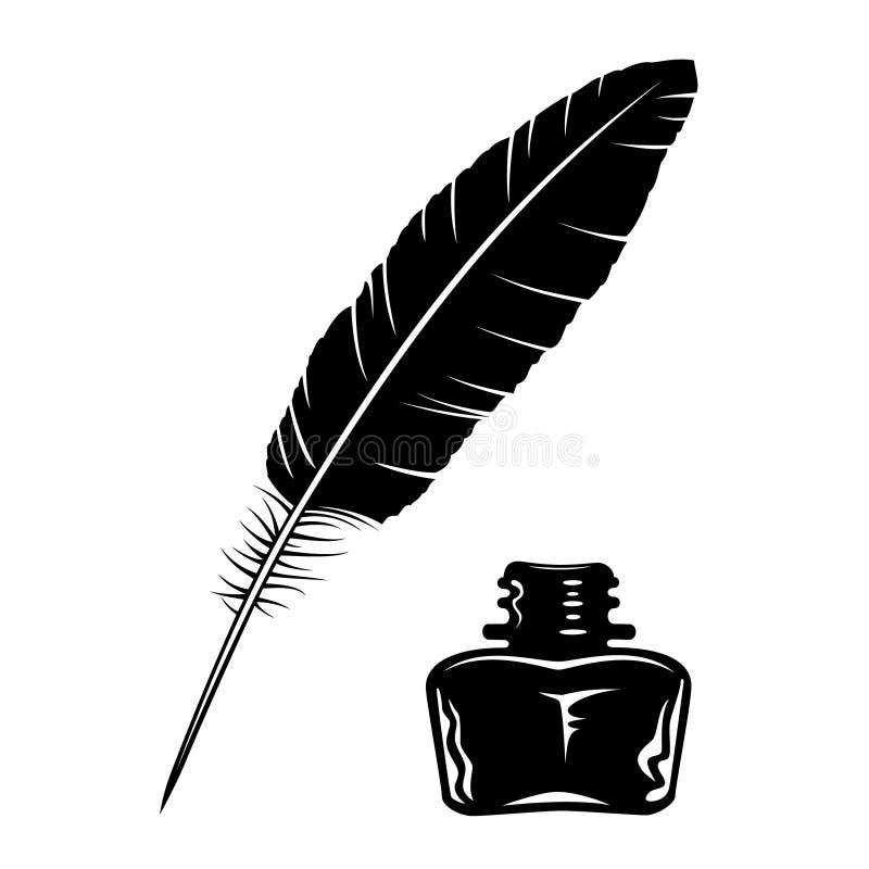 Bottiglia di inchiostro e della piuma illustrazione di stock