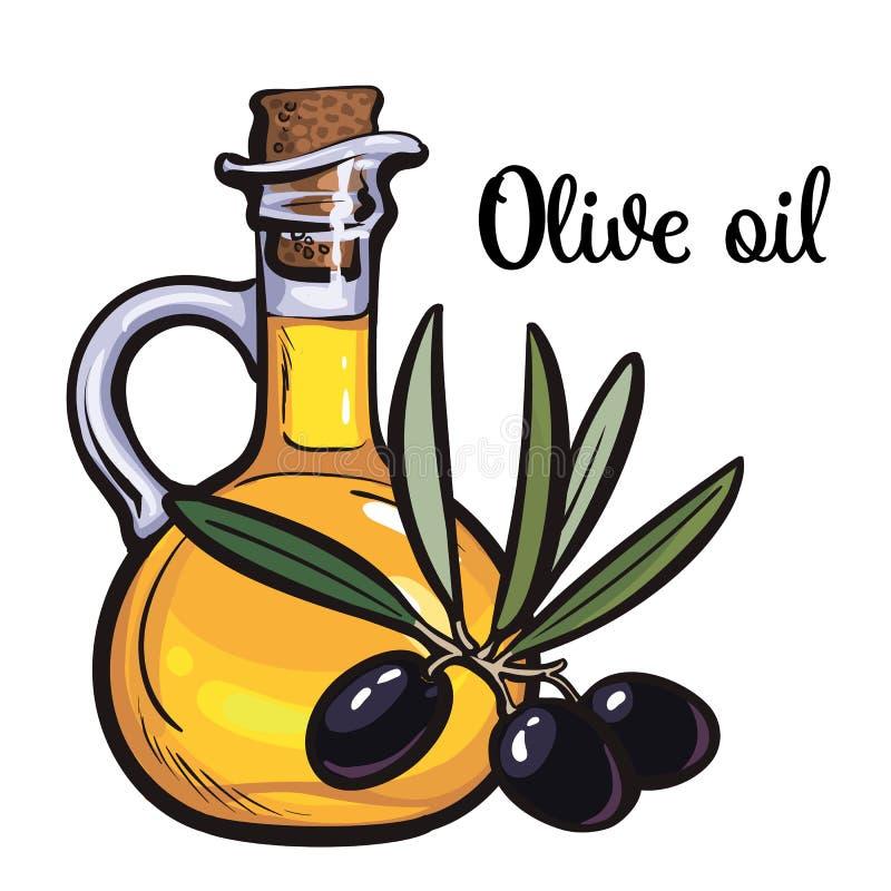 Bottiglia di olio d'oliva con le olive nere illustrazione di stock