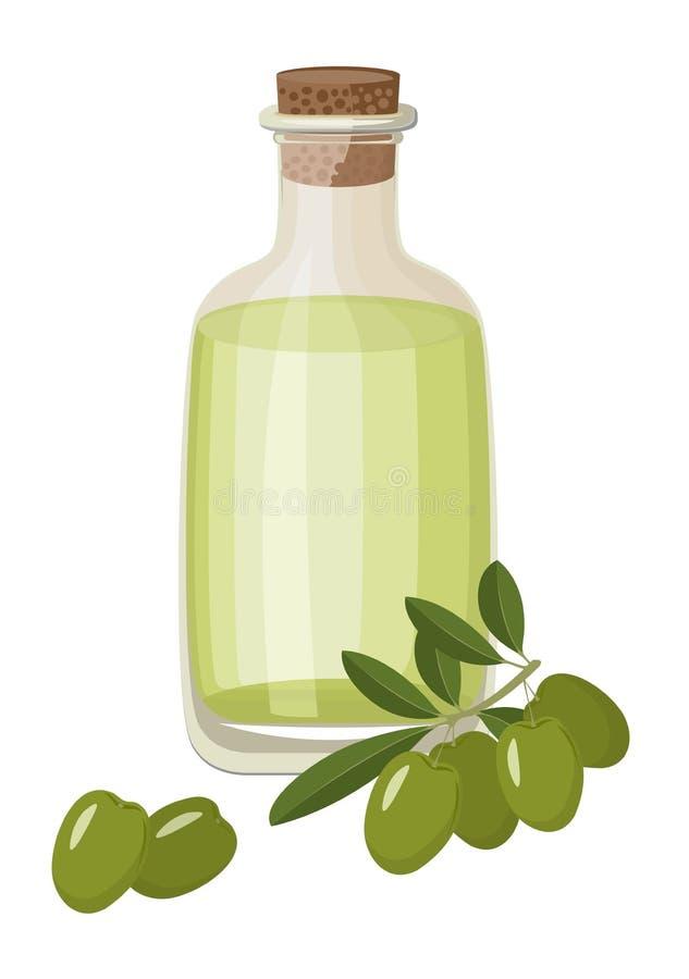 Bottiglia di olio d'oliva sano vergine extra e di olive verdi fresche con le foglie Illustrazione del quadro televisivo su fondo  illustrazione vettoriale