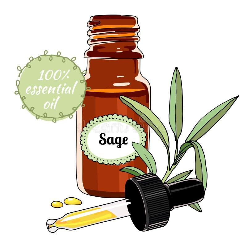 Bottiglia di olio essenziale prudente con il contagoccia royalty illustrazione gratis