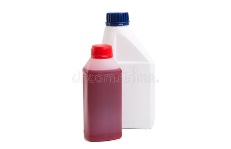 bottiglia di olio a macchina isolata fotografia stock