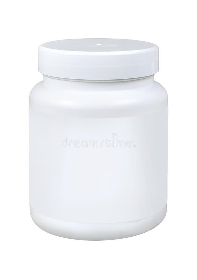 Bottiglia di pillola bianca della medicina isolata su un fondo bianco fotografia stock