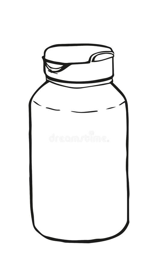 Bottiglia di pillola profilo Icona stile schizzo Simbolo segno royalty illustrazione gratis