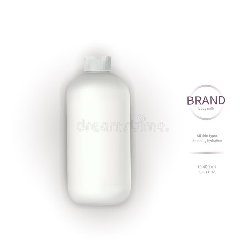 Bottiglia di plastica bianca con l'erogatore illustrazione di stock