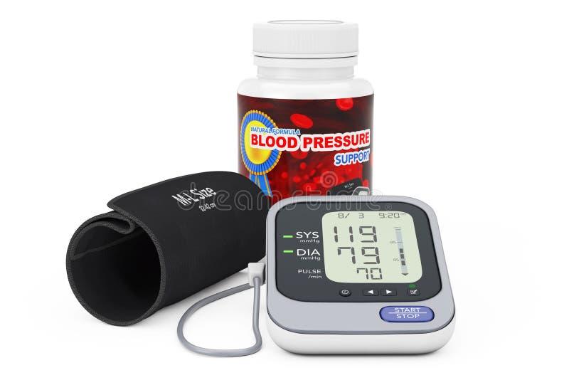 Bottiglia di plastica con le pillole di sostegno di pressione sanguigna e Digital Blo illustrazione di stock