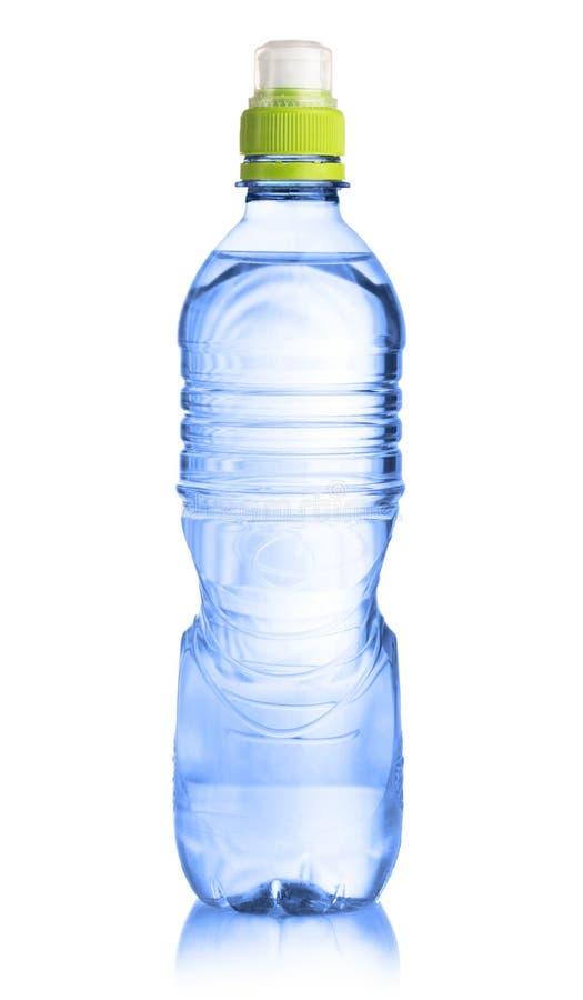Bottiglia di plastica di acqua isolata su bianco fotografia stock