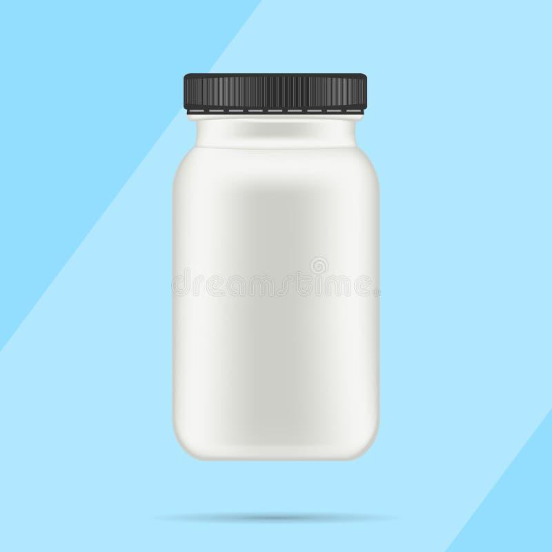 Bottiglia di plastica opaca bianca con il coperchio nero per le vitamine, compresse, pillole Modello d'imballaggio realistico del illustrazione vettoriale