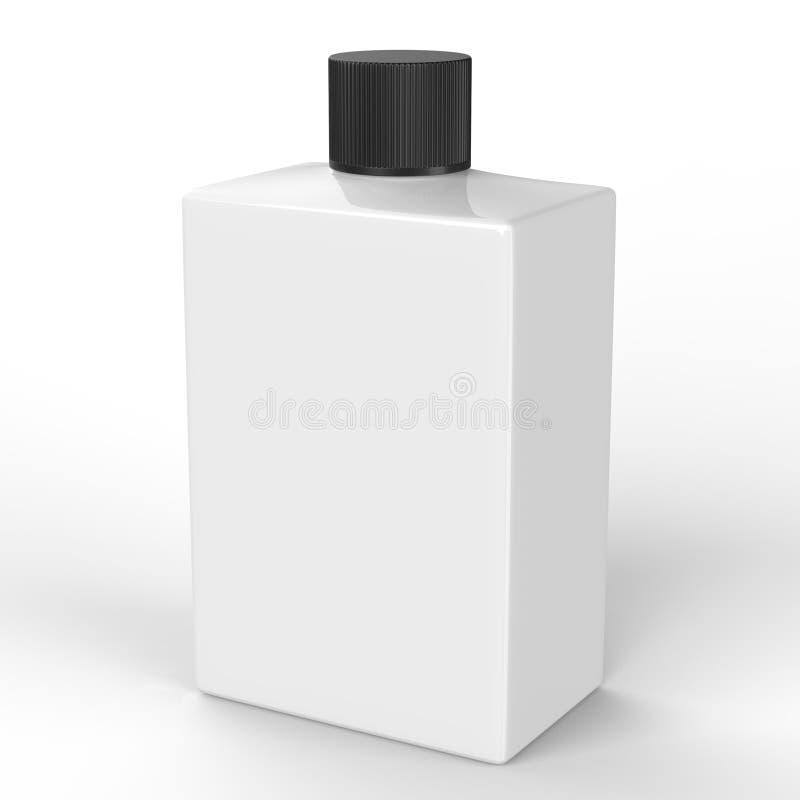Bottiglia di plastica quadrata con il percorso di ritaglio fotografie stock libere da diritti