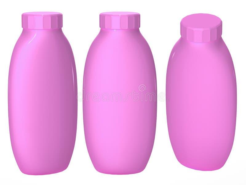 Bottiglia di plastica rosa che imballa con il percorso di ritaglio per il cosmatics a fotografia stock libera da diritti