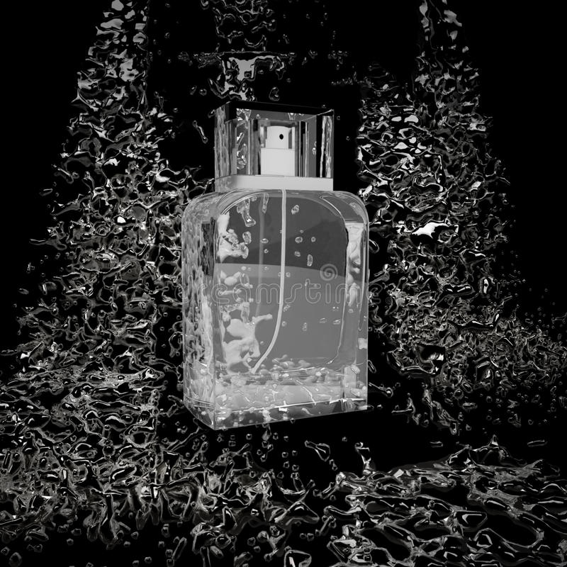Bottiglia di profumo situata sulle pietre nello scorrimento dell'acqua royalty illustrazione gratis