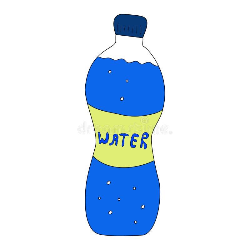 Bottiglia di stile di scarabocchio con acqua illustrazione di stock