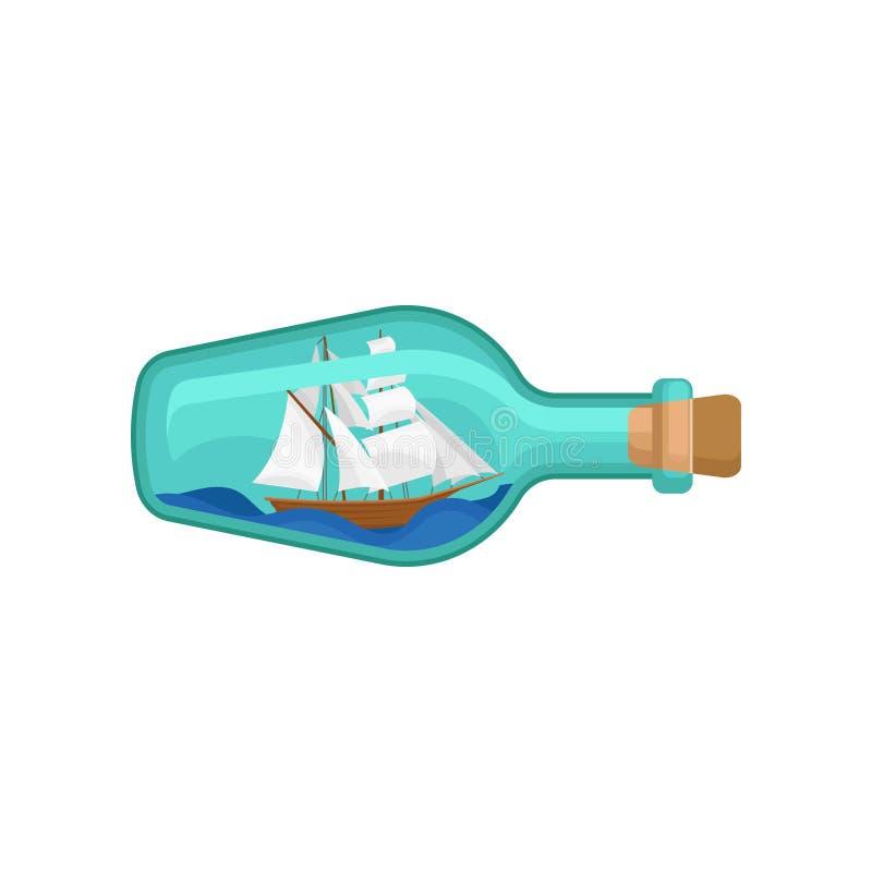 Bottiglia di vetro con la nave di legno dentro Modello miniatura dell'imbarcazione a vela sulle onde Progettazione piana di vetto illustrazione di stock