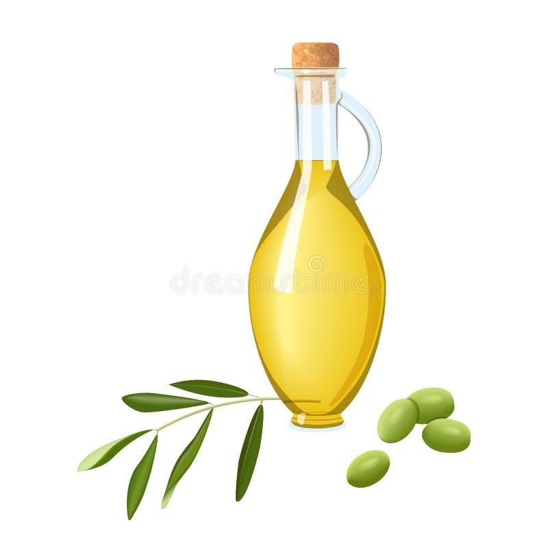 Bottiglia di vetro con olio d'oliva, il ramo di olive verdi acerbo e la foglia Testo del modello della carta Il raccolto oilbeari immagini stock libere da diritti