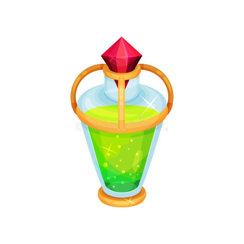 Bottiglia di vetro con pozione magica Liquido verde intenso in contenitore Elisir magico Icona del gioco Progettazione di vettore illustrazione di stock