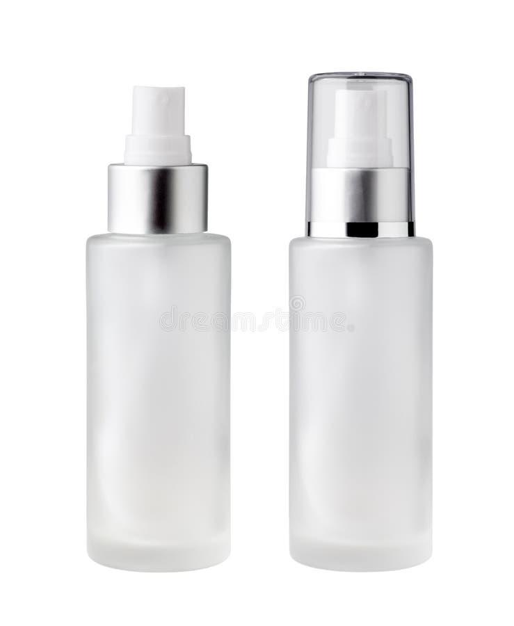 bottiglia di vetro con ugello spray bianco fotografia stock