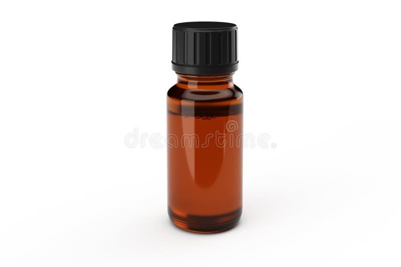 Bottiglia di vetro del contagoccia della medicina di Brown immagini stock libere da diritti