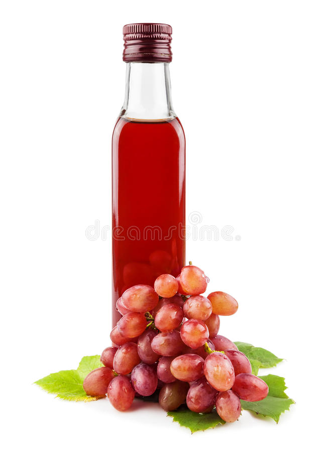 Bottiglia di vetro dell'aceto del vino rosso fotografia stock libera da diritti