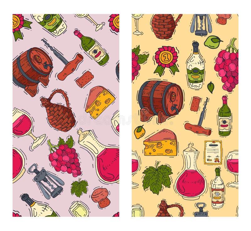 Bottiglia di vetro dell'acino d'uva del modello del club di gusto del vino delle illustrazioni senza cuciture di vettore Degustaz illustrazione di stock