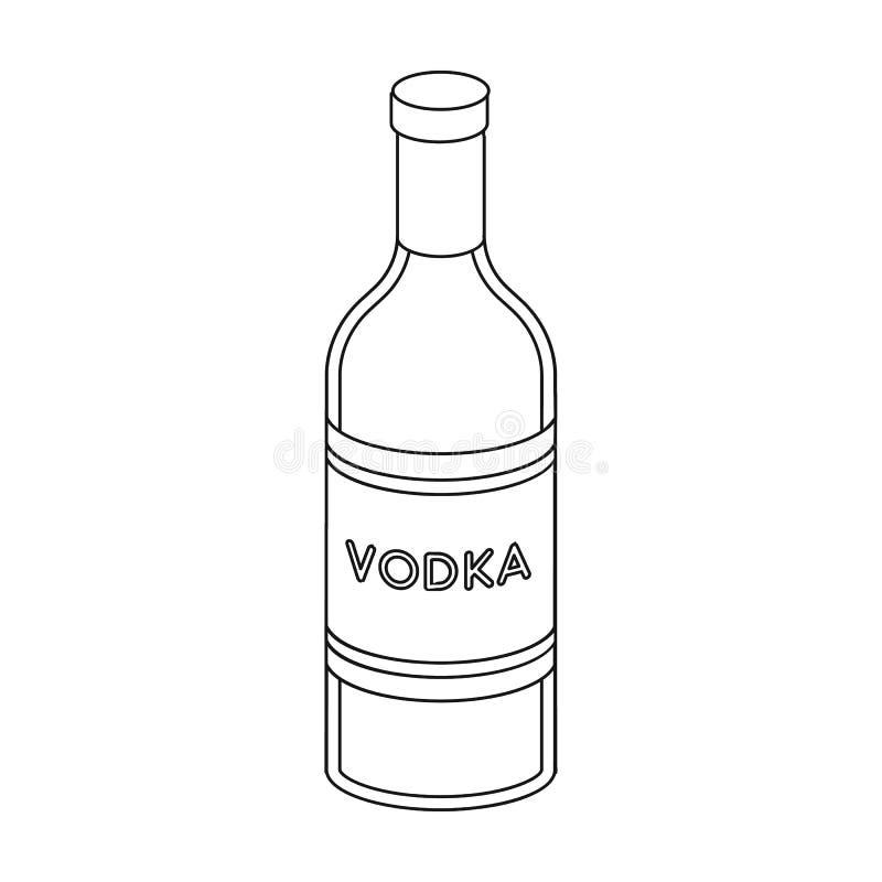 Bottiglia di vetro dell'icona della vodka nello stile del profilo isolata su fondo bianco Vettore russo delle azione di simbolo d royalty illustrazione gratis