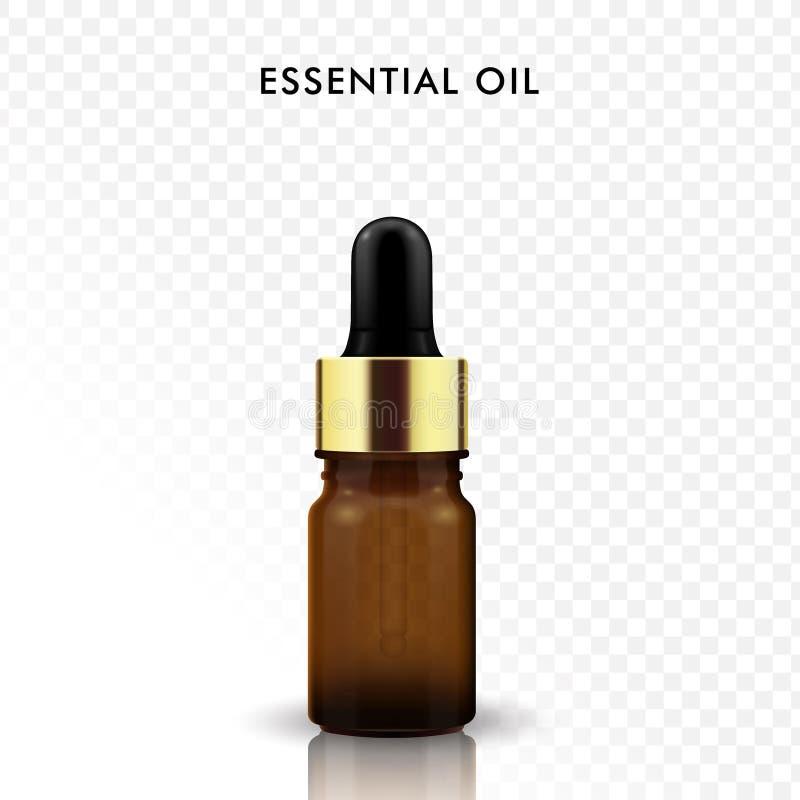 Bottiglia di vetro dell'olio essenziale royalty illustrazione gratis