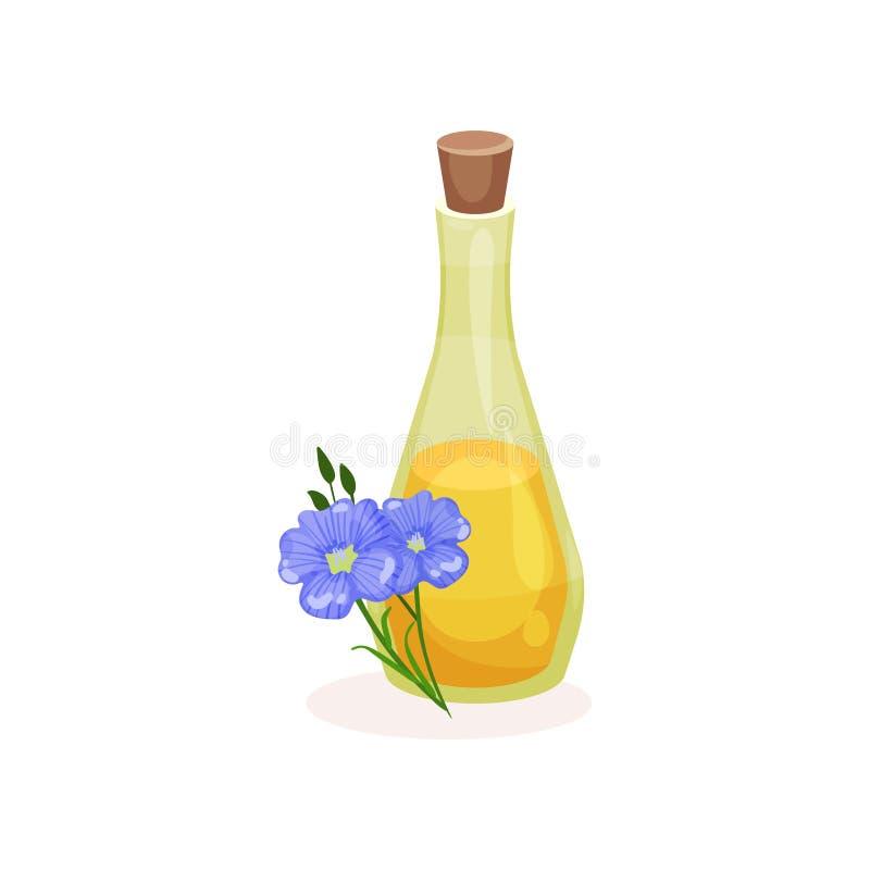 Bottiglia di vetro dell'olio di lino e dei fiori blu del lino Prodotto organico Ingrediente di cottura naturale Icona piana di ve royalty illustrazione gratis