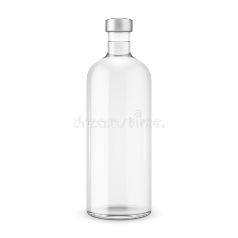 Bottiglia di vetro della vodka con il cappuccio d'argento. royalty illustrazione gratis