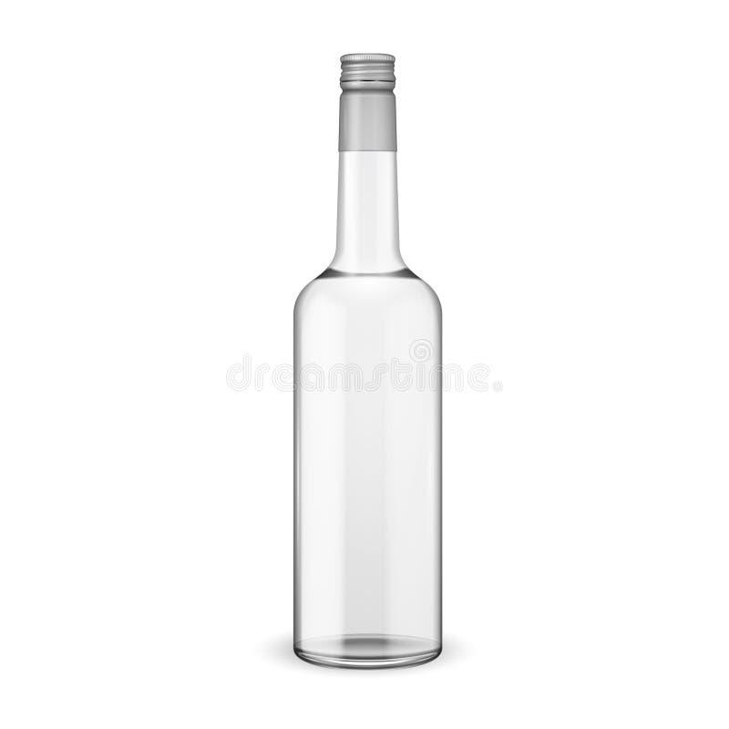 Bottiglia di vetro della vodka con il coperchio a vite. illustrazione di stock