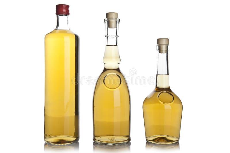 Bottiglia di vetro di brandy fotografia stock