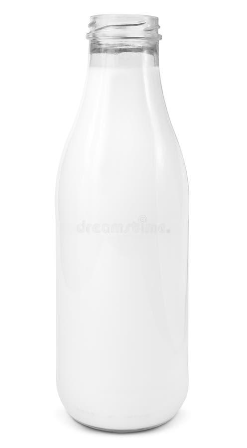 Bottiglia di vetro fresca del latte immagini stock