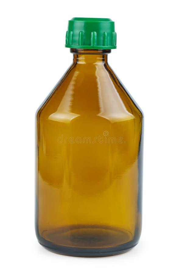 Bottiglia di vetro marrone isolata su fondo bianco fotografie stock