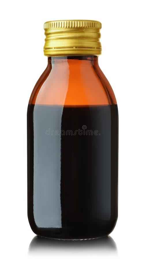 Bottiglia di vetro medica di vista frontale fotografia stock libera da diritti