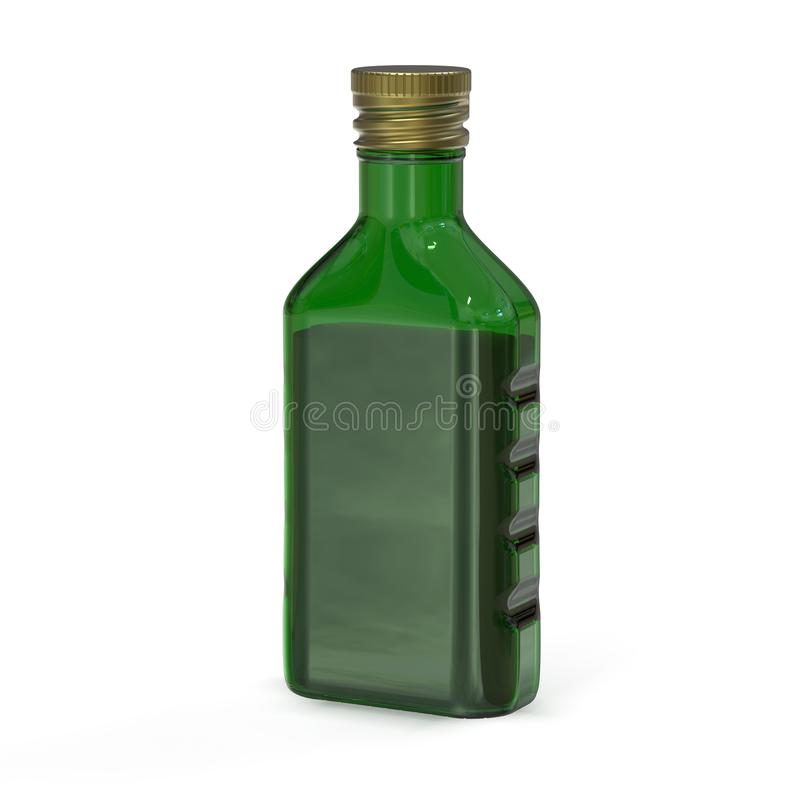 Bottiglia di vetro verde Bottiglia di forma insolita rappresentazione 3d illustrazione vettoriale