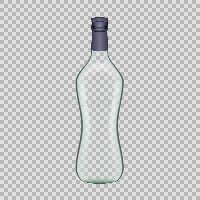 Bottiglia di vetro vuota della vodka del modello realistico bella con il coperchio a vite illustrazione vettoriale