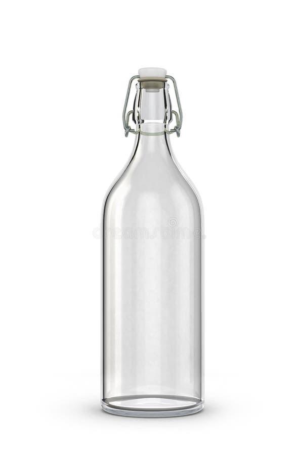 Bottiglia di vetro vuota per latte illustrazione di stock