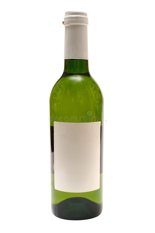 Bottiglia di vino bianco con il contrassegno in bianco (percorso incluso) immagini stock libere da diritti