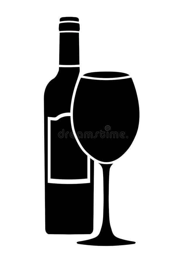 Bottiglia di vino con l'icona di vettore del bicchiere di vino e dell'etichetta, logo, segno, emblema, siluetta isolata su fondo  illustrazione vettoriale