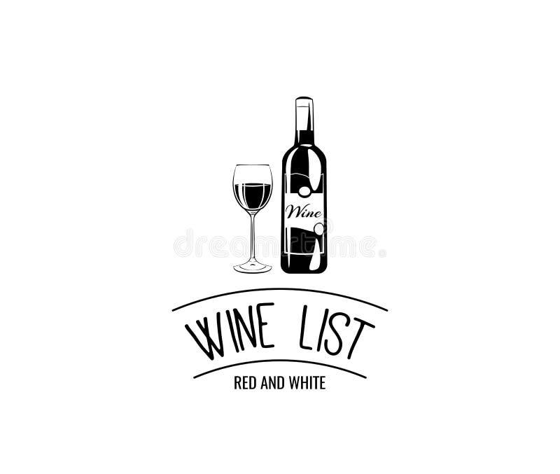 Bottiglia di vino con un vino di vetro Emblema della lista di vino Illustrazione di vettore royalty illustrazione gratis