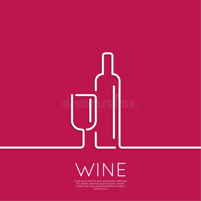 Bottiglia di vino con un vino di vetro illustrazione di stock