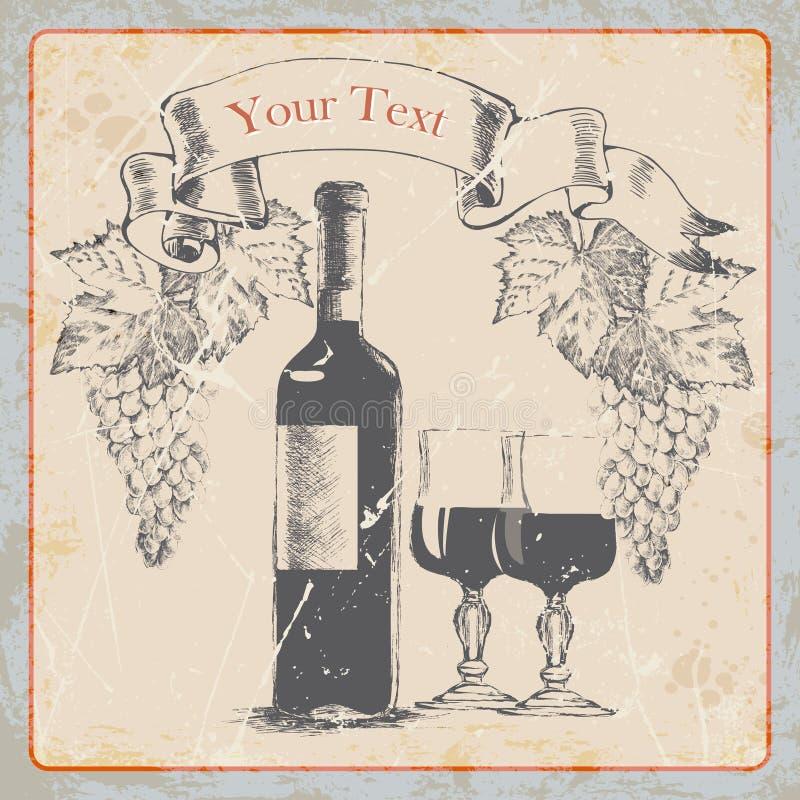 Bottiglia di vino d'annata dell'etichetta di lerciume del disegno della mano, vetri, uva, insegna Illustrazione di vettore illustrazione di stock