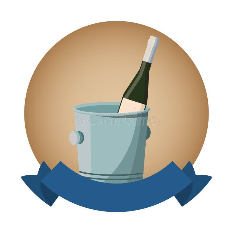 Bottiglia di vino dentro il secchiello del ghiaccio royalty illustrazione gratis