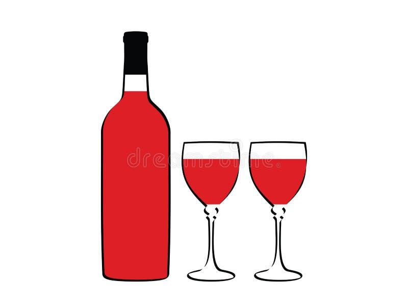 Bottiglia di vino e due vetri royalty illustrazione gratis