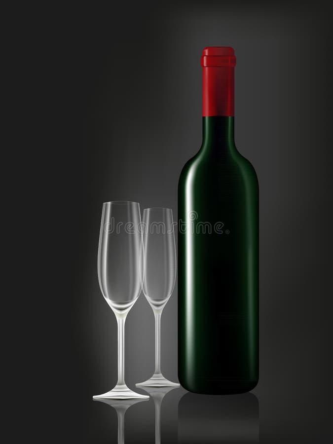 Bottiglia di vino e due vetri emtry sul nero illustrazione di stock