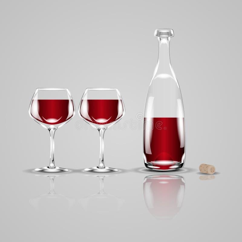 Bottiglia di vino e di due vetri Illustrazione realistica di vettore illustrazione vettoriale