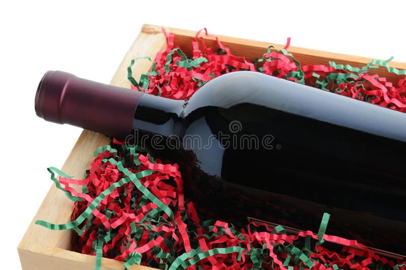 Bottiglia di vino imballata per il Natale immagine stock libera da diritti