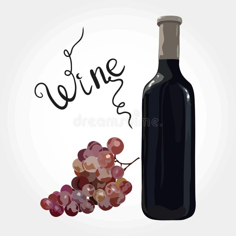 Bottiglia di vino rosso con l'uva royalty illustrazione gratis