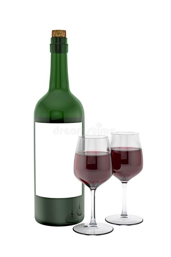 Bottiglia di vino rosso e di vetro royalty illustrazione gratis