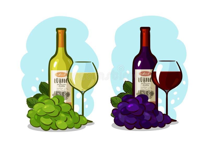 Bottiglia di vino rosso o bianco, di vetro e dell'uva Concetto della cantina Illustrazione di vettore del fumetto royalty illustrazione gratis