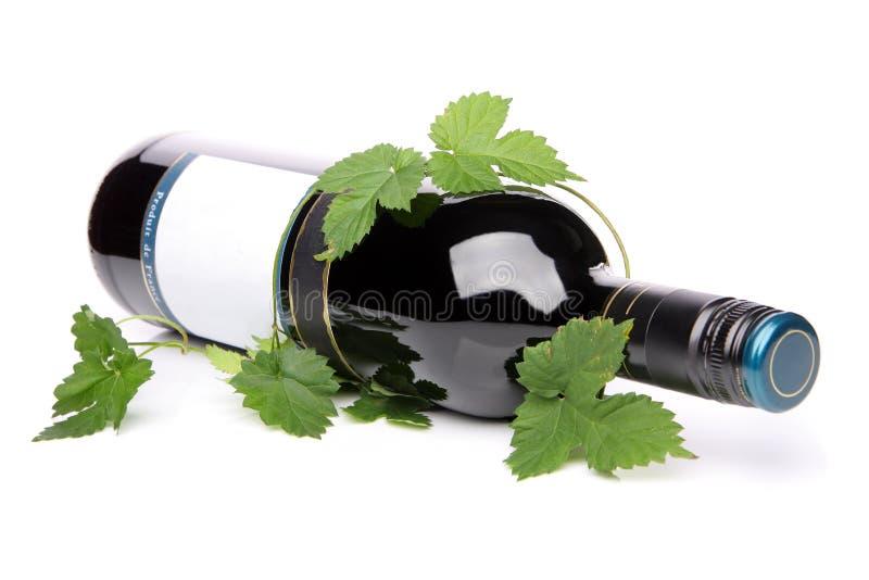 Bottiglia di vino rosso, trovantesi dal suo lato fotografia stock libera da diritti