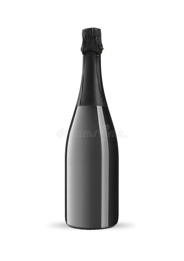 Bottiglia di vino spumante su un fondo bianco fotografia stock