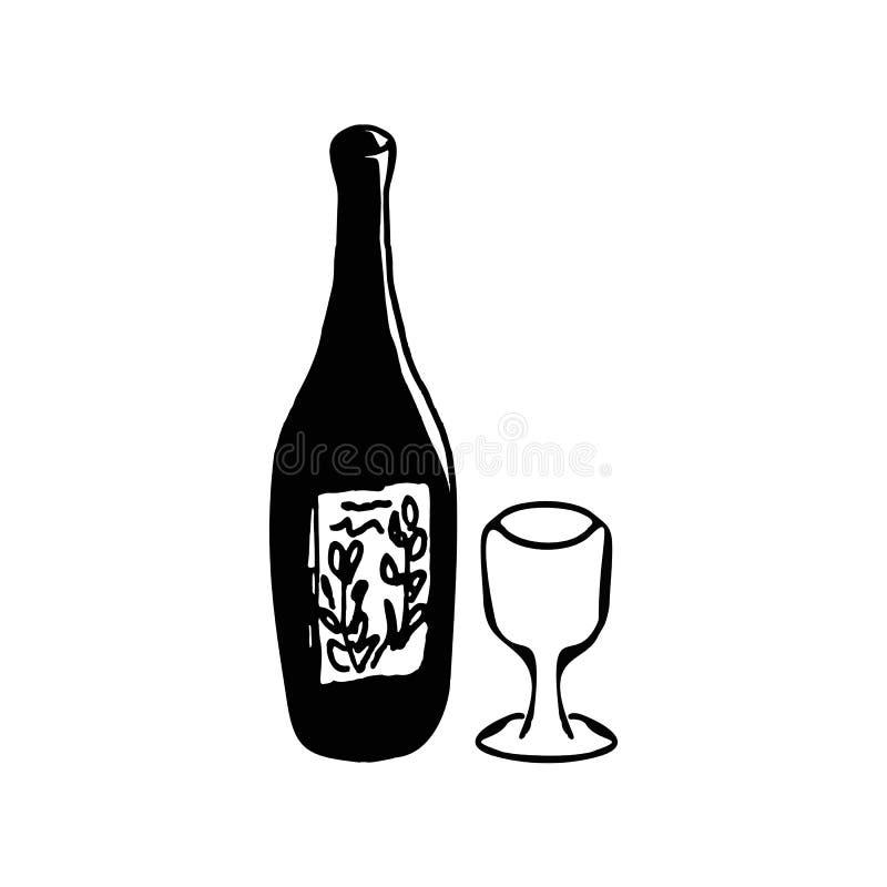 Bottiglia di vino, vetro Scarabocchio, schizzo, disegno della mano Illustrazione di vettore royalty illustrazione gratis